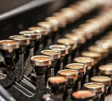 Keyboard of old-fashioned typewriter